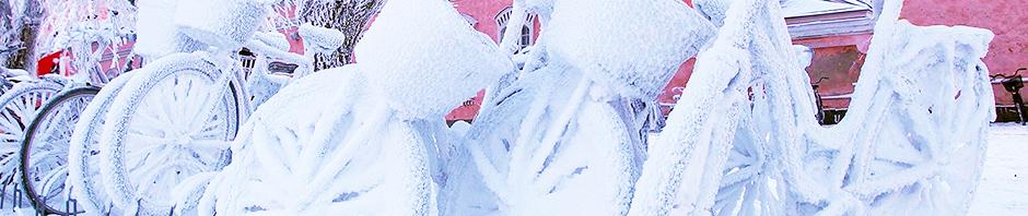 Polkupyöriä aivan lumisina, Kuva: Risto Mustonen